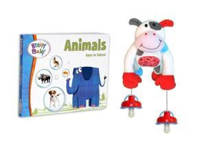 Brainy Baby Animals Board Book and PullyPalz MooMoo the Cow Interactive Pacifier Toy Combo