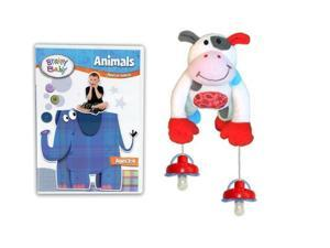 Brainy Baby Animals DVD and PullyPalz MooMoo the Cow Interactive Pacifier Toy Combo