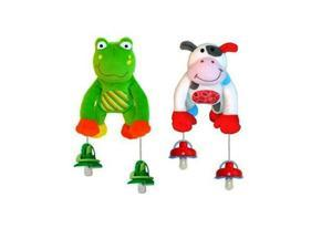 The Interactive Pacifier Toy Holder by PullyPalz includes Puddles the Frog & MooMoo the Cow Combo