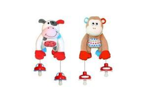 The Interactive Pacifier Toy Holder by PullyPalz includes MooMoo the Cow & MoMo the Monkey Combo