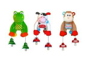 The Interactive Pacifier Toy Holder by PullyPalz includes Puddles the Frog, MoMo the Monkey & MooMoo the Cow Combo