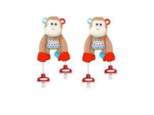 The Interactive Pacifier Toy Holder by PullyPalz includes MoMo the Monkey 2-pack Combo