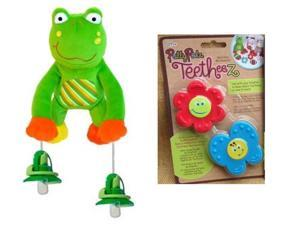 Pullypalz Interactive Puddles the Frog Pacifier Holder and Garden Teetheez Set