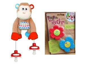 Pullypalz Interactive MoMo the Monkey Pacifier Holder and GardenTeetheez Set