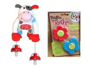 Pullypalz Interactive MooMoo the Cow Pacifier Holder and Garden Teetheez Set