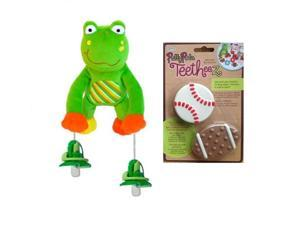 Pullypalz Interactive Puddles the Frog Pacifier Holder and Sports Teetheez Set