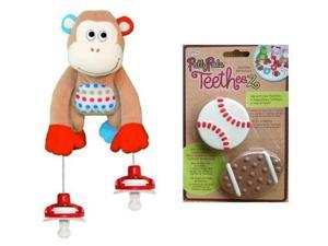 Pullypalz Interactive MoMo the Monkey Pacifier Holder and Sports Teetheez Set