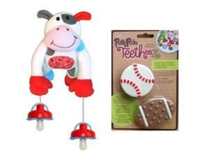 Pullypalz Interactive MooMoo the Cow Pacifier Holder and Sports Teetheez Set