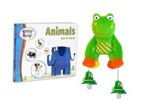 Brainy Baby Animals Board Book and PullyPalz Puddles the Frog Interactive Pacifier Toy Combo