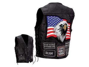 Diamond Plate™ Rock Design Genuine Buffalo Leather Concealed Carry Vest with Patches