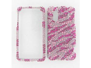 HTC EVO Design 4G Full Diamond Hot Pink Zebra Protective Case