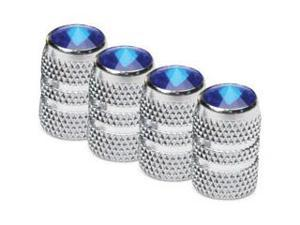 Colored Tip Valve Caps - Blue  Chrome Finish  4-Pack