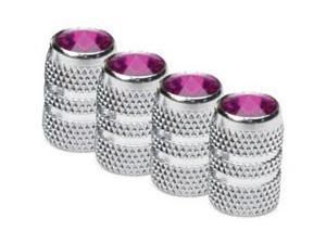 Colored Tip Valve Caps - Purple  Chrome Finish  4-Pack