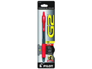 Gel Pen Retractable Refillable Fine Point Red Ink Clear