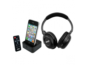 Pyle UHF Wireless Stereo Headphone with Wireless iPhone/iPod Dock Transmitter and RF Remote Control