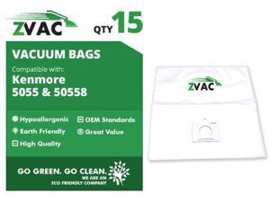 Kenmore ZVac 5055, 5057, 50558 HEPA Cloth Vacuum Bags (15 pack)