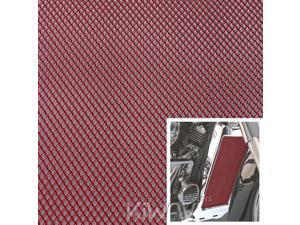 Motorcycle Red Universal 20x33cm Aluminum Diamond Mesh Grill Fairing insert