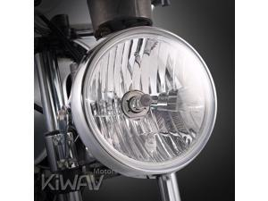Sirius 7 inch round motorcycle headlight with chrome housing ECE compliant Halogen H4 bulb 12V 55W 60W high low beam