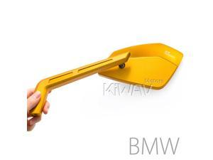 Magazi mirrors CNC aluminum Cleaver gold 10mm x 1.5 pitch for BMW motorcycle