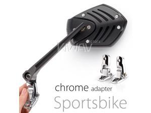 Motorcycle Mirror Shield Sports Black with chrome adapter
