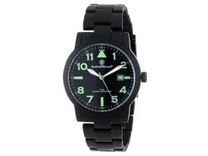 Smith & Wesson Mens SWW-167 Round Black Face with Black Stainless Steel Strap
