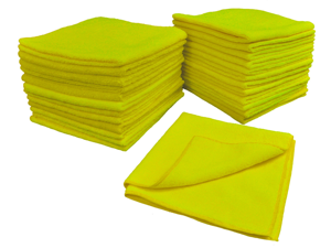 Eurow Microfiber 16 x 16in 300 GSM Cleaning Towels 25-Pack (Yellow)