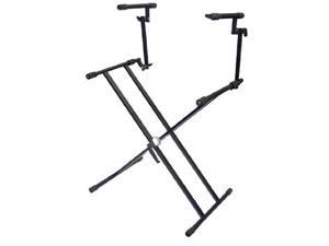 Pyle-Pro PKS60 Two Tier Double X Braced Heavy-Duty DJ Coffin / Keyboard Stand