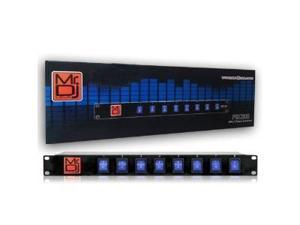 Mr Dj PSC300 Stage Light with 8-Channel Power Strip and Lighted Blue Toggles On/Off Power Panel