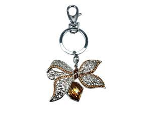 "<Just Perfect>Champagne Gold Swarovski Crystal ""Precious"" Key Chain .3.1"""