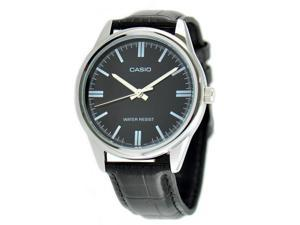 Casio Men's Analog Quartz Stainless Steel Black Leather Watch MTPV005L-1A