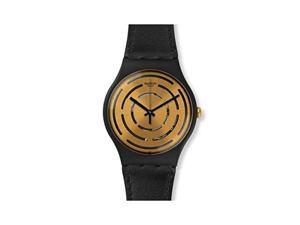 Swatch Unisex Seeing Circles Black Plastic and Leather Watch SUOB126