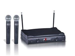 Axess VHF Channel Long Range Two Wireless Microphone System MPWL1509-BK