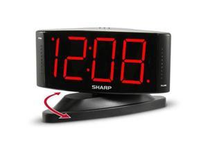 "Sharp 1.8"" Red LED Digital Display Swivel Black Alarm Clock SPC033A"