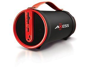 Axess Bluetooth SD Card/AUX/FM Inputs 2.1 Hi-Fi Red Cylinder Speaker SPBT1033RD