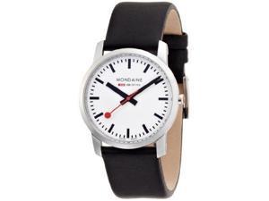 Mondaine Women's Simply Elegant Black Leather Band Watch A6723035111SBB