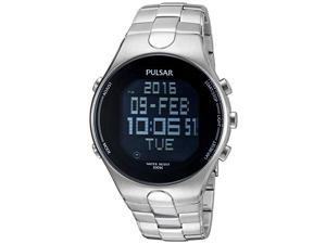 Pulsar Men's Digital Quartz 100m Stainless Steel Watch PQ2053