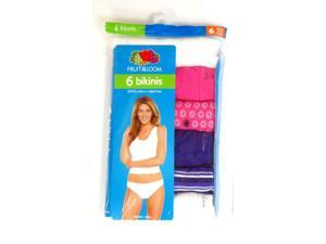 Fruit of the Loom Women's Cotton Bikini Panty 6-Pack (Assorted) Size 9
