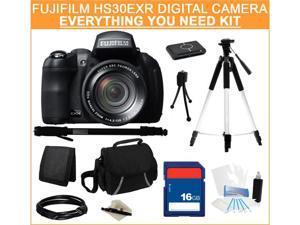 Fujifilm FinePix HS30EXR Digital Camera, Everything You Need Kit, 16229347