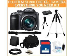 FUJIFILM SL300 Black 14.0 MP 30X Optical Zoom Wide Angle Digital Camera, Everything You Need Kit, 16206450