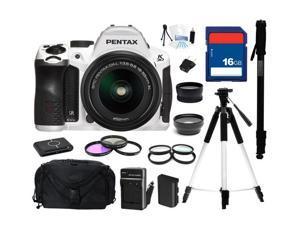 PENTAX K-30 Lens Kit White 16.3 MP Digital SLR with 18-55mm Lens, Everything You Need Kit, 15679