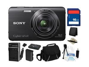 Sony Cyber-shot DSC-W650 16.1 MP (Black) Digital Camera with 5x Optical Zoom and 3.0-Inch LCD, Everything You Need Kit, DSC-W650/B