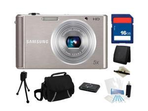 SAMSUNG ST76 16.1 MP (Silver) 5X Optical Zoom 25mm Wide Angle Digital Camera, Everything You Need Kit, EC-ST76ZZFPSUS