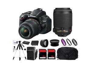 Nikon D5100 16.2MP DSLR Camera + 4 Lens 18-55 & 55-200 + 48GB Bundle Kit