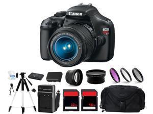 Canon EOS Rebel T3 1100D Digital Camera + 3 Lens Kit 18-55mm + 48GB Complete Kit