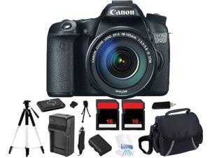 Canon EOS 70D 18.0 MP Digital Camera w/ EF-S IS 18-135mm Lens + 32GB Bundle Kit