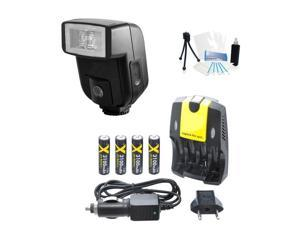 Digital Bounce Flash and AA Battery Charger Bundle for Olympus PEN E-PM1 EPM1