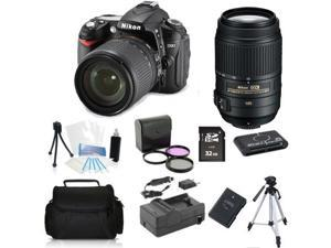 Nikon D7000 (Kit w/ VR 18-55mm + 55-300mm VR Lens) + (Holiday Bundle Kit)