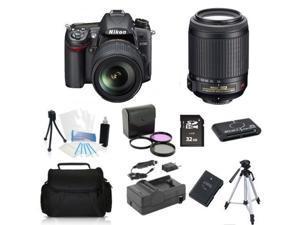 Nikon D7000 (Kit w/ VR 18-55mm + 55-200mm VR Lens) + (Holiday Bundle Kit)