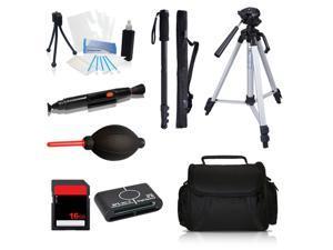 Professional Tripod Accessory Kit + Tripod + Monopod + 16GB for Canon ELPH 340