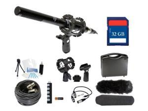 Microphone Broadcasting Kit + 32GB SD Memory Card for Canon EOS Rebel 550D 500D T1i
